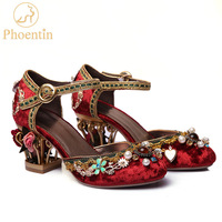 Phoentin velvet ankle strap Chinese wedding shoes women crystal buckle pearl rhinestone flower decoration mary jane shoe FT267