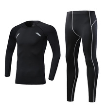 BINTUOSHI 2Pcs/set Traini Set For Men's Running Training Breathable Suit Men Winter Suit  Gym Exercise Fast Dry Clothes Tights fast set