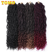 "TOMO 24Roots Crochet Braids Curly Senegalse Twist 18"" 24"" Ombre Kanekalon Synthetic Braiding Hair Extensions Red Blond Brown(China)"