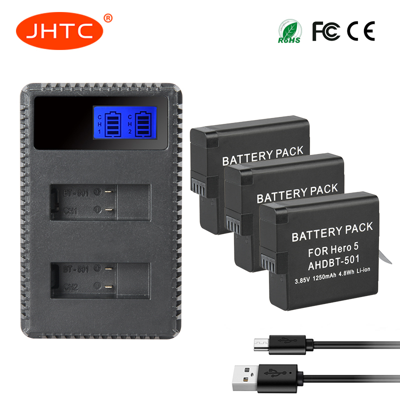 купить JHTC 3pcs AHDBT-501 AHDBT 501 Battery+ USB LCD Dual Port Charger for Gopro HERO 6 HERO6 Black HERO 5 HERO5 Black AABAT-001 по цене 2829.34 рублей