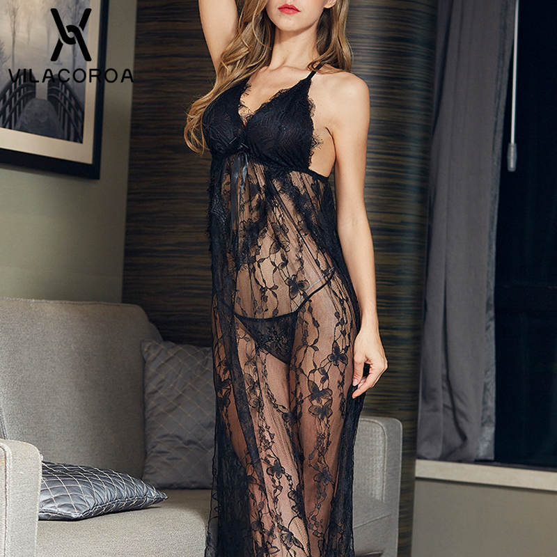 Solid Sleeveless Camis Sexy Lace Bow Perspective Split Night Dress Fashion Long V-Neck Backless Nighty Sleepwear Modis Nightgown