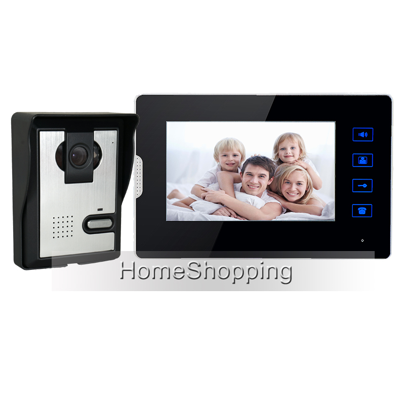 New Wired 7 Color Touch Screen Video Door Phone Intercom System 1 Monitor + 1 Night vision Door Camera In Stock FREE SHIPPING free shipping wired new 9 inch tft lcd monitor video door phone intercom system with 1 night vision outdoor camera in stock