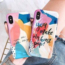 Abstract Art Painted Case For iPhone X XS 6 6S 7 8 Plus Cartoon Graffiti Blu-ray Glossy Soft Silicone Cover