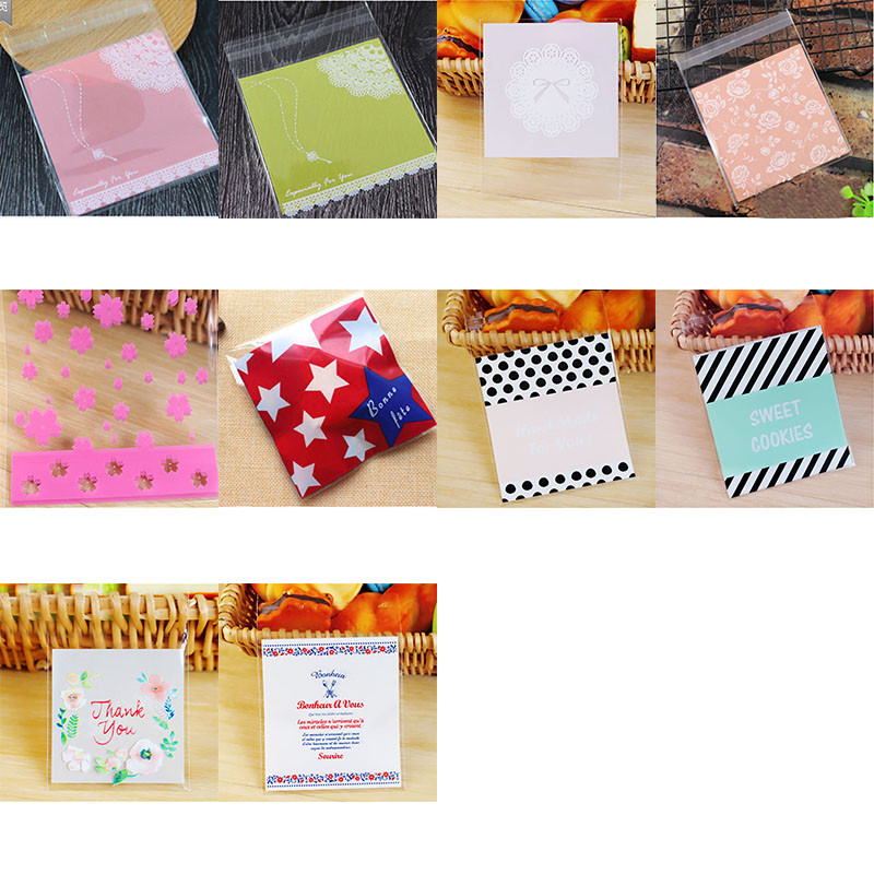 50/100 Pcs Cute Cellophane Candy Cookie Gift Bag With DIY Self Adhesive For Wedding Birthday Party Packaging Baby Shower Bags 8z