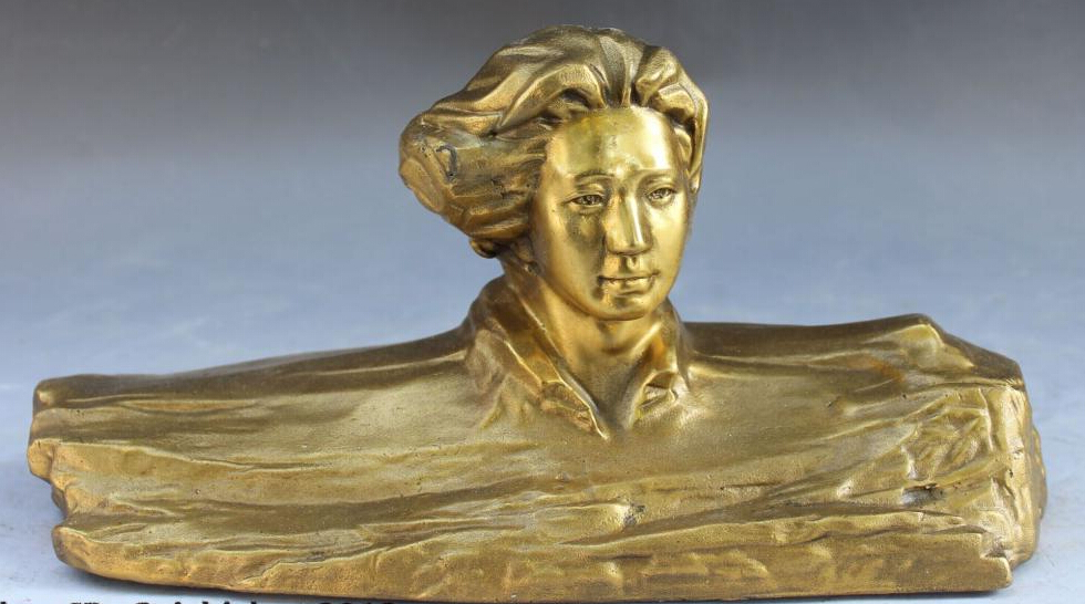 """11""""Folk Chinese Feng Shui Bronze Revolution Mao Zedong Chairman Head Bust Statue R0709 (B0413)"""