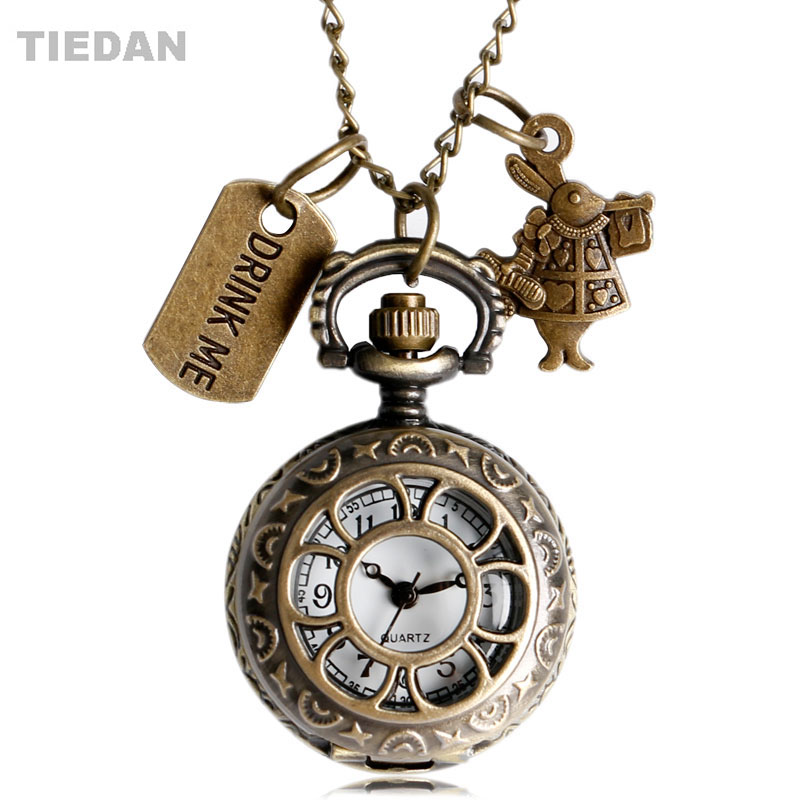 TIEDAN Alice Rabbit&Drink Me Design Hollow Bronze Antique Pocket Watches for Unisex Gift with Necklace Retro Quartz Fob Watches