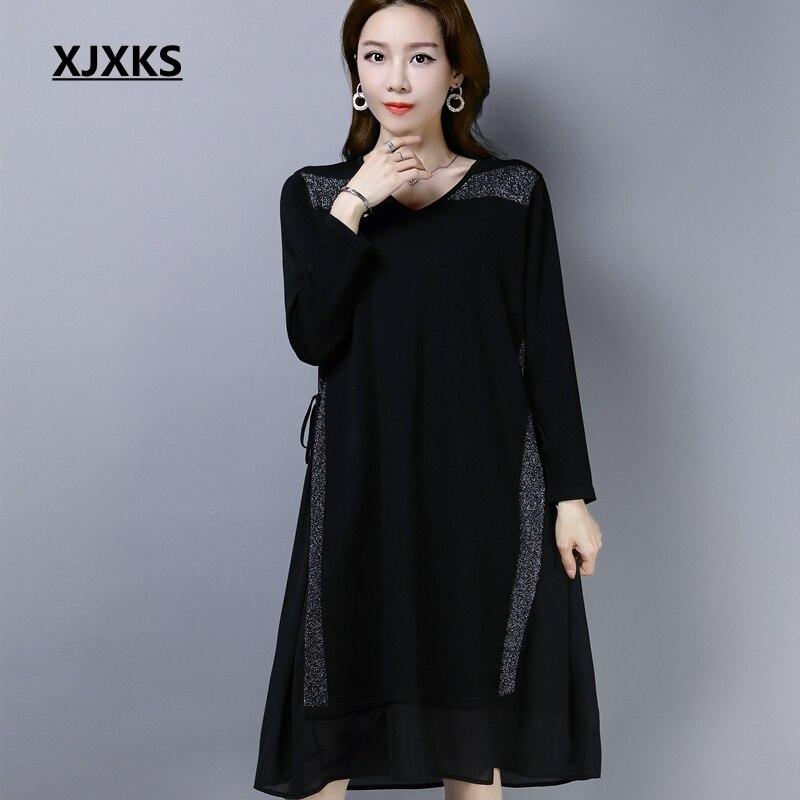 XJXKS Women Dress Knitting Spring Long Dresses Women Fashion V neck For Party Clothing Ladies Knitwear Black Vestidos