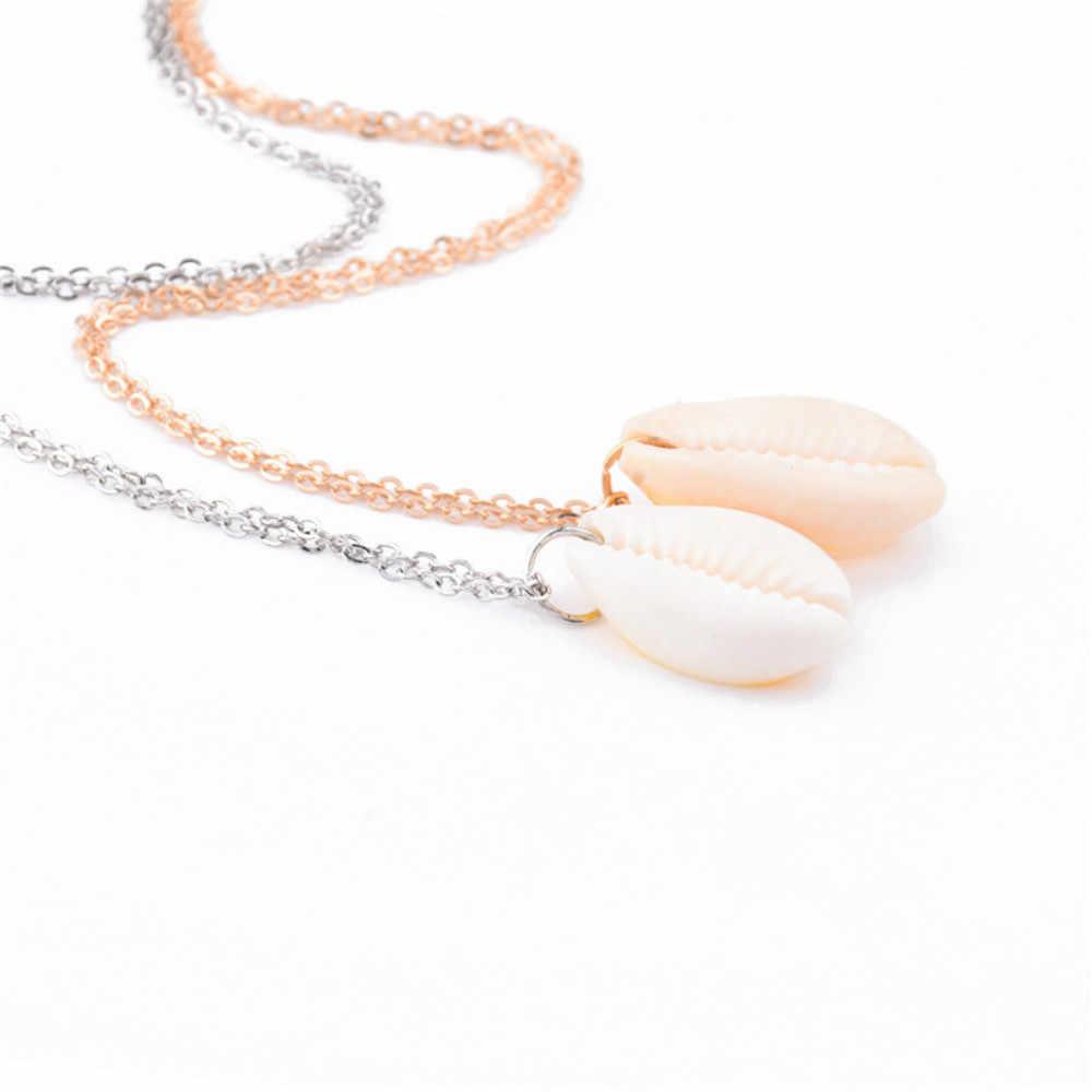 Boho Sea Cowrie Shell colgante collar minimalista fina cadena océano playa collares para mujeres Collier Femme playa Shell joyería