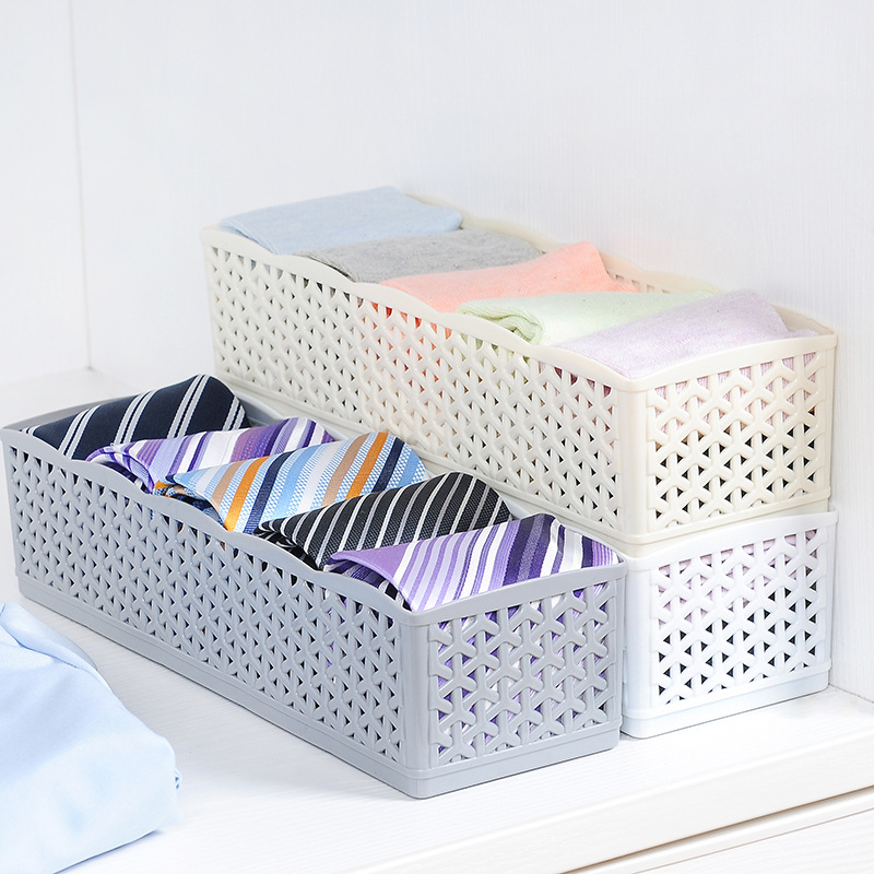 Universal 5 Grids Socks Underwear Storage Drawer Plastic Solid Color Bra Storage Box Finishing Cosmetic Toiletries Organizers ...