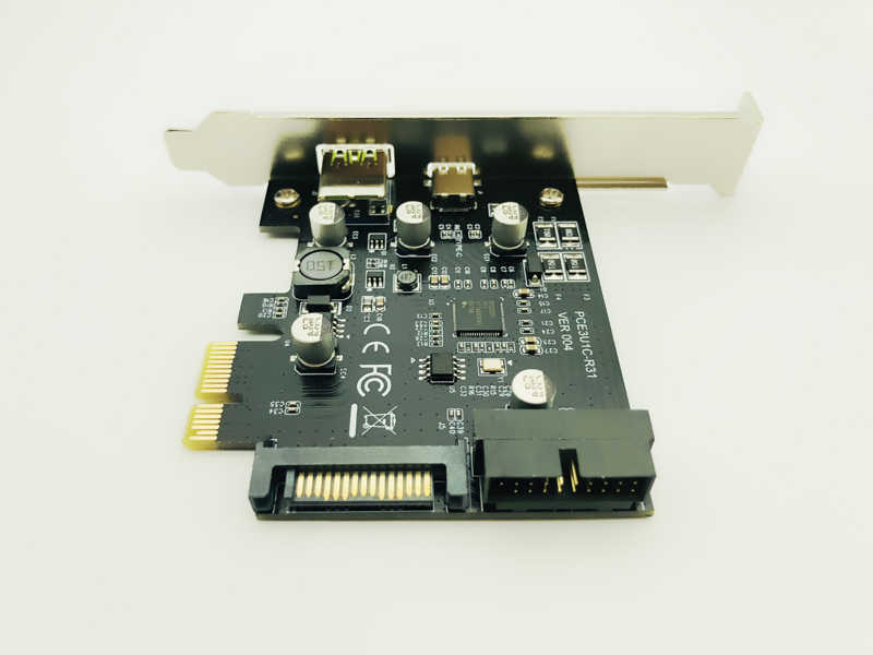 PCI-Express PCI-e To USB 3.1 Type-C Riser Post Card PCIe to USB-C 2.4A Fast Charger+19PIN Front USB Miner Expansion Adapter Card