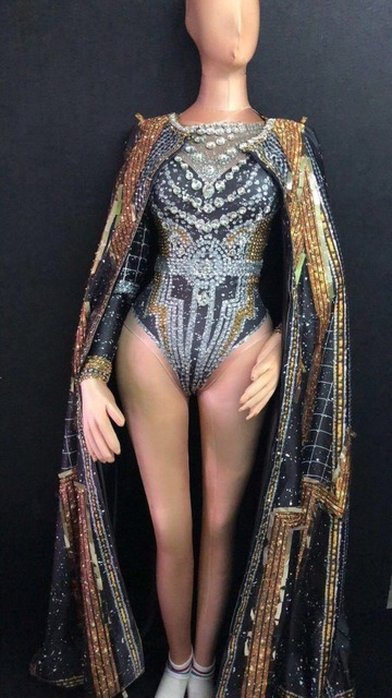 Fashion Crystals Leotard Long Coat Dance Outfit Stones Bodysuit Stage Performance Party luxurious Shining Dance Costume