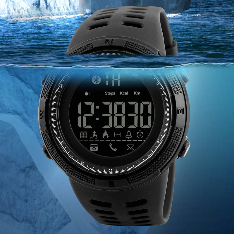 2019 New Men Smart Cool Sports Bluetooth Photograph Watches Digital LED Electronic Quartz Wristwatches Waterproof Military Watch