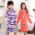 2016 nova moda crianças roupões 6-12years carol velo inverno vestes roupões de banho das crianças