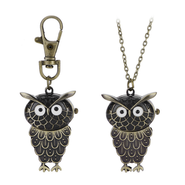 NEW Timer Women Men Retro Night Owl Quartz Watches Pocket Watch Key Ring Necklac