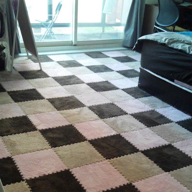 8pcs Set 30 30cm Puzzle Mat Eva Foam Shaggy Velvet Carpet