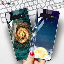 Soaptree Tempered Glass Case For Samsung Galaxy S10 Plus S10e Cases Stars Space Silicone Back Cover for
