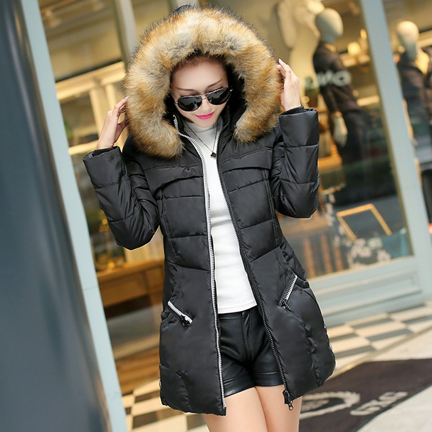2017 Hot sale thickening winter medium-long Down Jacket womens large artificial fur collar plus size clothing Cheap wholesale