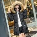 2017 venta Caliente engrosamiento invierno medio-largo Abajo Chaqueta de las mujeres de gran cuello de piel artificial ropa de talla grande Barato venta al por mayor