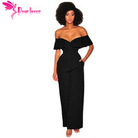 Dear Lover Elegant Jumpsuits Overall Party Summer 2018 Black Wine White Ruffle Off Shoulder Wide Leg