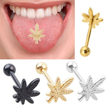 1PC Hot Sexy Leaf Weed Shaped Barbell Tongue Rings Stainless Steel Body Piercings Jewelry For Men Women Ear Tragus Labret