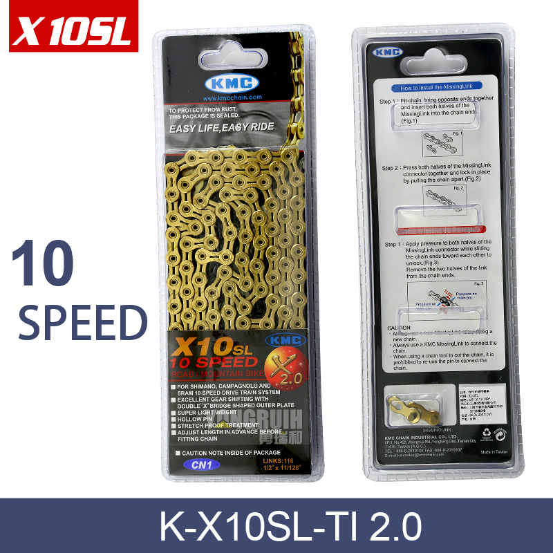 Original KMC X10SL 2.0 MTB Mountain Road Bike Chain 10 speed 10s double X Super Light Titanium Gold Silver Bicycle Chains west biking bike chain wheel 39 53t bicycle crank 170 175mm fit speed 9 mtb road bike cycling bicycle crank