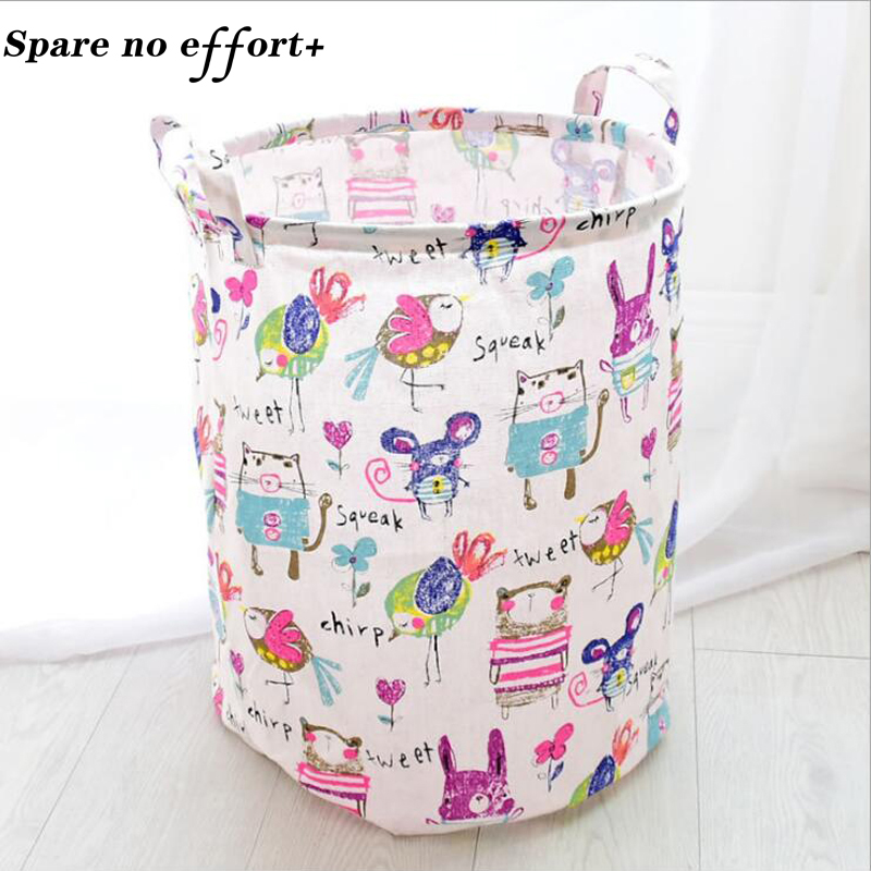 Laundry Basket Dirty Clothes Storage Basket Baby Toys Storage Bags Home Organizer Basket Fabric Barrel Cotten Linen Organizador
