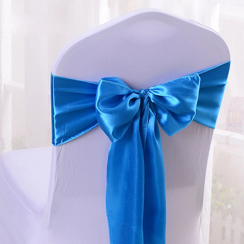 Cheap 25pcs/lot 16*275cm Satin Bow Tie Chair Sash Band For Hotel Banquet Wedding Party Decoration Red/Blue/Yellow Multi Color