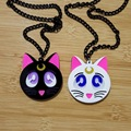 Sweet Anime Cartoon Sailor Moon bowknot necklace Cat Luna Pendant Necklace Cosplay accessory
