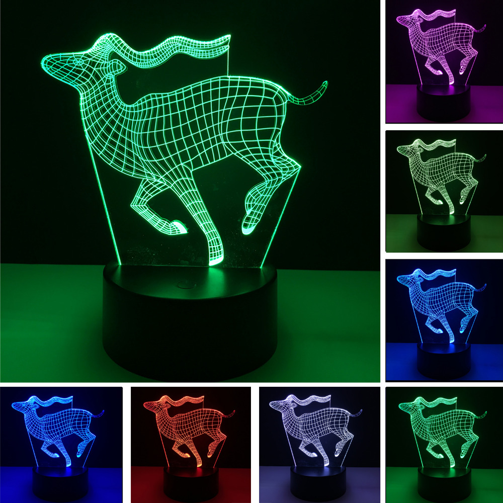 Nyhed Tegneserie Luminaria Vision 3D Løb Hjort Nattlys 7 Farve Gradient Illusion Bordlamper Soveværelsesindretning Børn Xmas Gaver