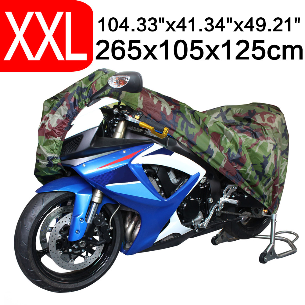 2XL 265 x 105 x 125cm Motorcycle Covering Waterproof Dustproof Scooter Cover UV resistant Heavy Racing Bike Cover Camouflage D25