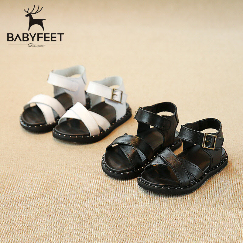 Summer Babyfeet Sandals baby girls princess sandals Solid Genuine Leather Sandals Toddler shoes children's shoes infantil 21-25 babyfeet summer cool toddler shoes 0 2 year old newborn baby girl