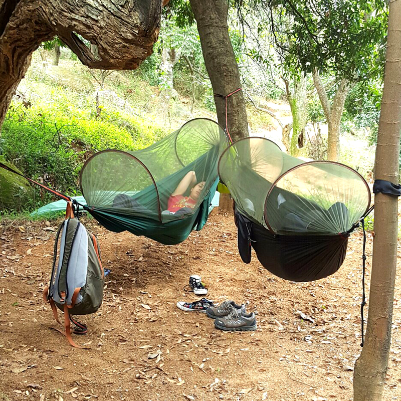 2018 NEW! Portable High Strength Parachute Fabric Camping Hammock Hanging Bed With Mosquito Net Sleeping Hammock цена