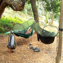 2016 NEW! Portable High Strength Parachute Fabric Camping Hammock Hanging Bed With Mosquito Net Sleeping