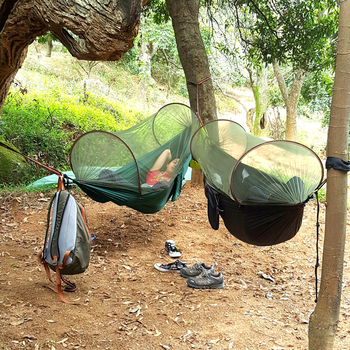 цена на NEW! Portable High Strength Parachute Fabric Camping Hammock Hanging Bed With Mosquito Net Sleeping Hammock