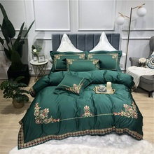 New Green Luxury Gold Royal Embroidery Egyptian Cotton Court Bedding Set Lace Duvet Cover Bed sheet Linen Pillowcases 4pcs