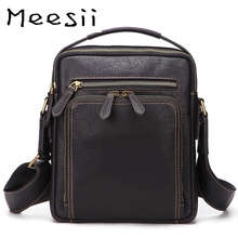 Meesii Men Genuine Leather Shoulder Bag Casual Small Cross-body Bags Large Capacity Mens Zipper Briefcase  Black Travel