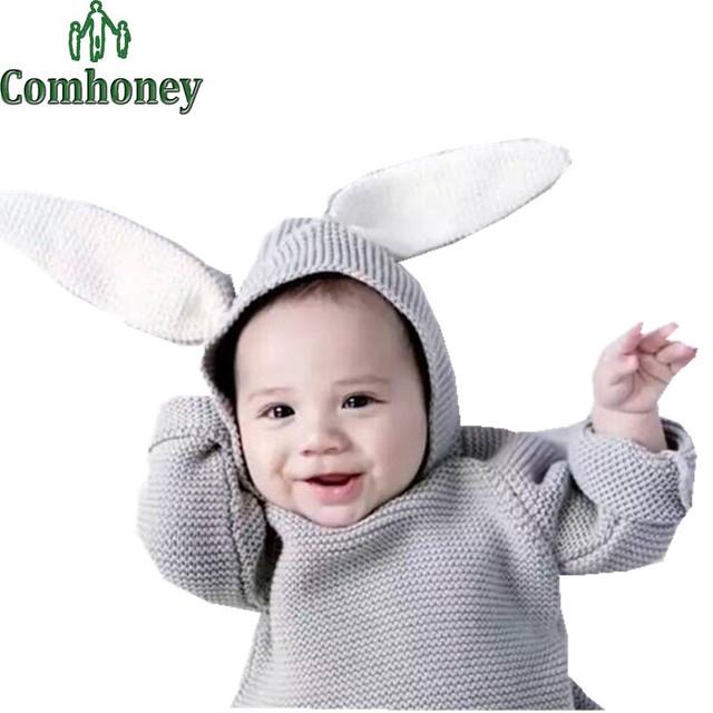 Suéter del bebé del Conejo 3D Suéter de Las Muchachas de La Rebeca Con Capucha Otoño Invierno Ropa Infantil Del Bebé de Punto Niños Suéter