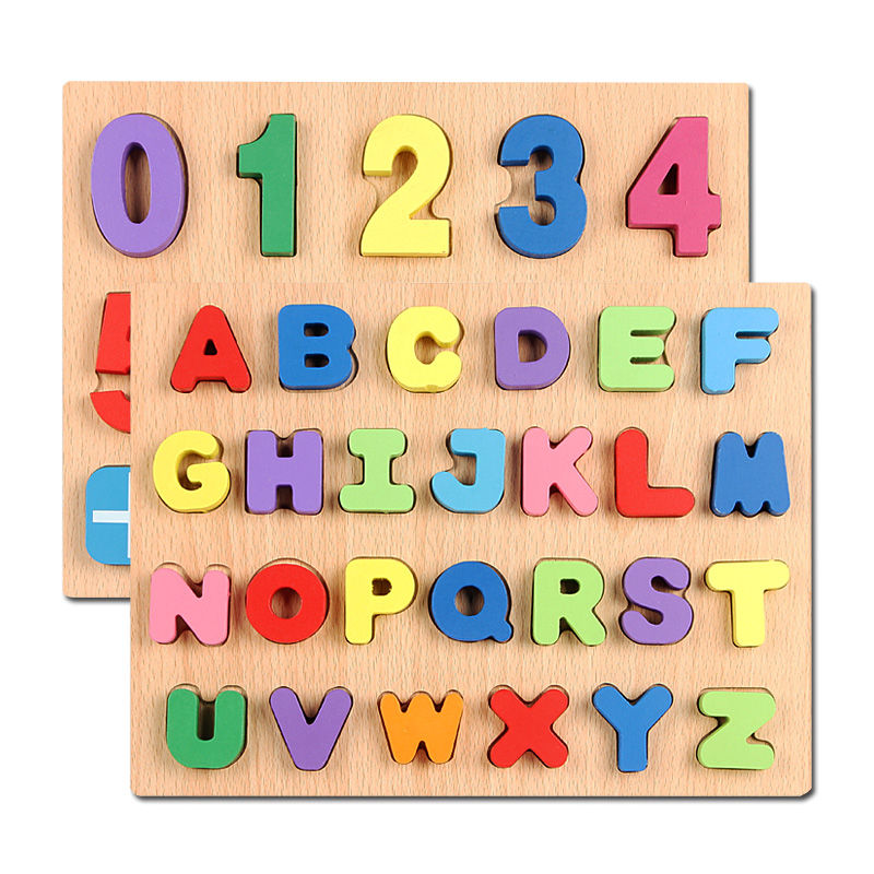 Wooden English Alphabet Puzzles Toys for Children Square Digital Board Learning Letters Educational Puzzle Toy Baby Kids Toy