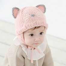 Baby Hats 2017 Spring Autumn Lovely Earmuffs Warm Knitted Caps for Infant Boys Girls Children New Fashion Cartoon Hats Kids Caps
