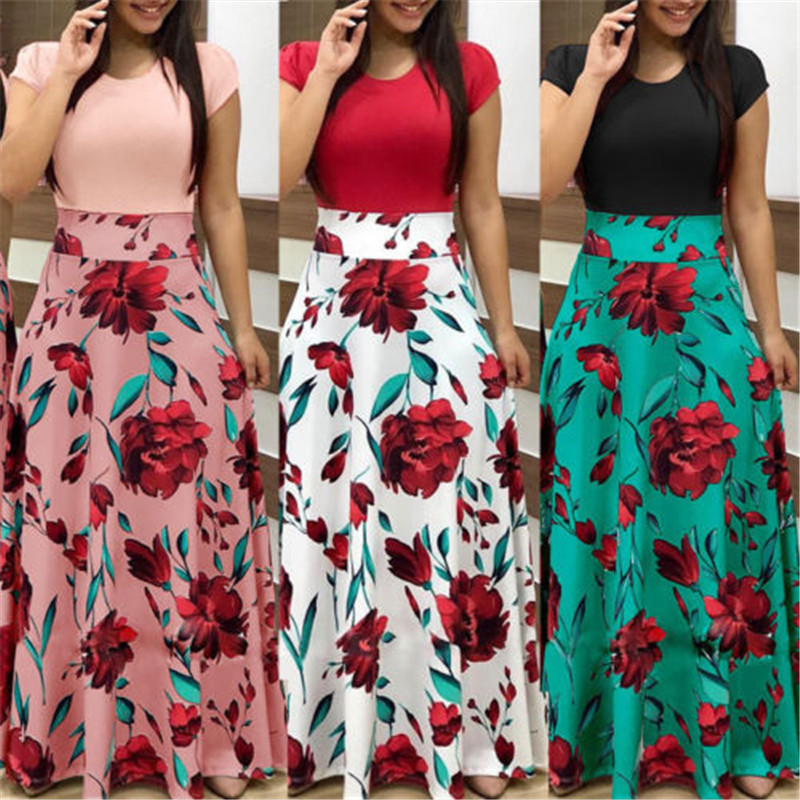 Detail Feedback Questions about Sexy Women Boho Summer Dresses Casual 2018  Lady Short Sleeve Long Maxi Evening Party Dress Floral Print Patchwork Dress  ... e2ae5a4cd