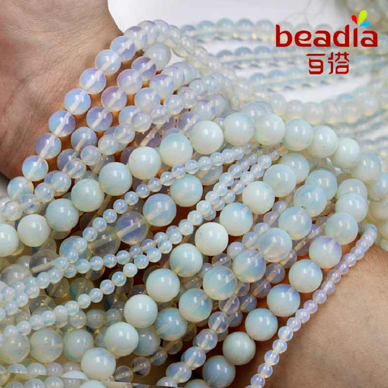 High Quality 4MM 6MM 8MM 10MM Synthetic round opal stone beads Loose gem Ball Beads For DIY Bracelets Necklaces Jewelry Findings