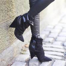 Hot Andrew Women Boots Shoes Woman Spike High Heel Ankle Boots Slip On Leather Suede Patchwork Autumn Winter Boots Botas Mujer