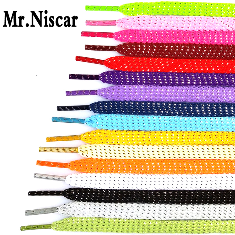 Mr.Niscar 1 Pair 110cm Silver Colorful Flat Shoe Laces Daily Party Camping Shoelaces for Women Shoes Rope Shoe Laces Strings