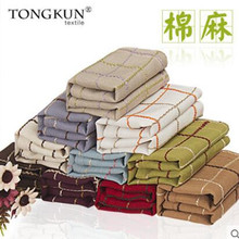 American rural small antependium fabric cotton and linen rectangular grid fresh round tea table cloth towels