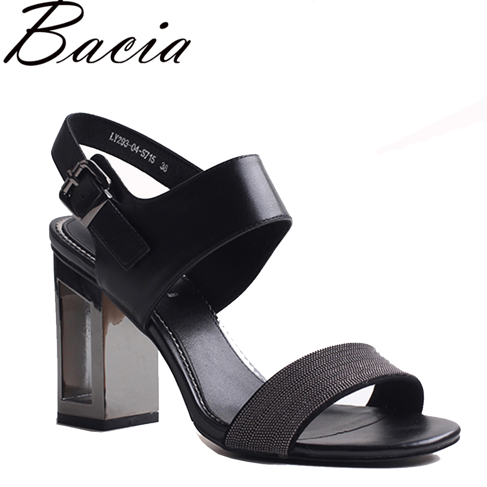 Bacia New 2017 Sheep Skin Sandals Fashion Litchi patern leather Black Leather Summer Shoes Fretwork Heel Shoes 36-40 Vxb008 autoprofi авточехлы sheep skin имитац дубл овчины 9 предм 3 молнии т сер св серый разм м 1 5