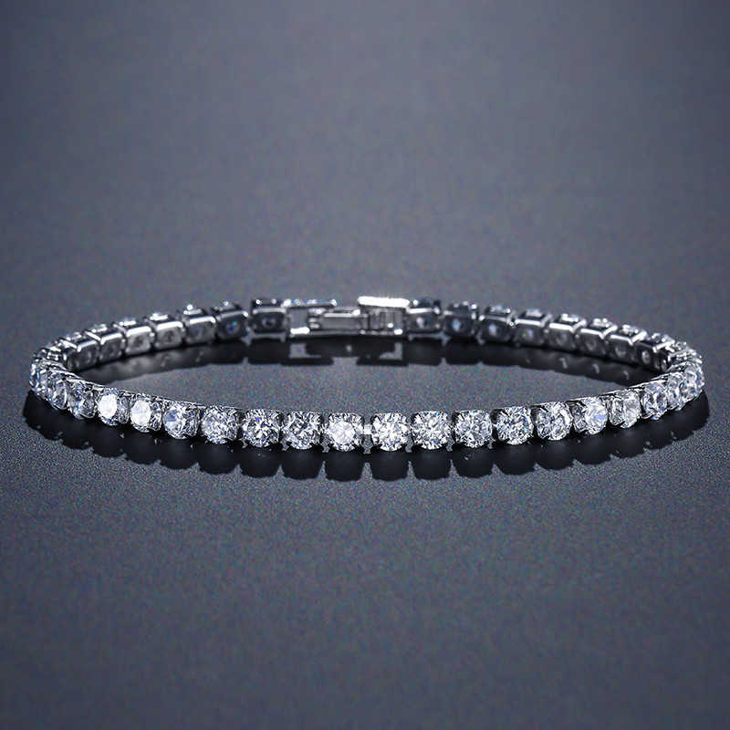 solid 925 sterling silver 4mm 18cm CZ tennis bracelet bangle for women wedding fashion jewelry wholesale party gift S4777
