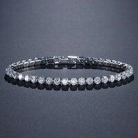 Solide 925 en argent sterling 4mm 18cm CZ tennis bracelet bracelet pour les femmes de mariage de mode bijoux en gros fête cadeau S4777