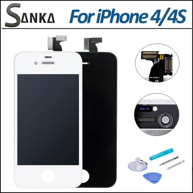 Для Apple iPhone 4S 4 GSM ЖК-Дисплей С Сенсорным Экраном Передняя стекла Digitizer Замена Ассамблеи и Бесплатный Инструмент AU США DE Со