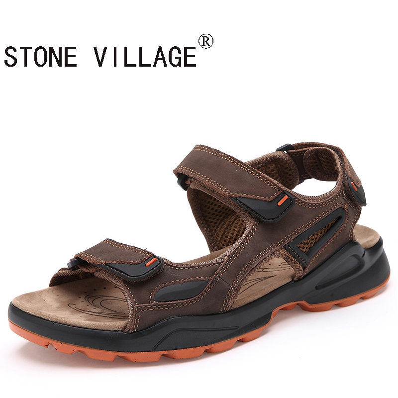 ФОТО STONE VILLAGE Free shipping The 2017 Summer Breathable Casual Sandals  Leather Shoes Trade Size Beach Slippers Leather Shoes