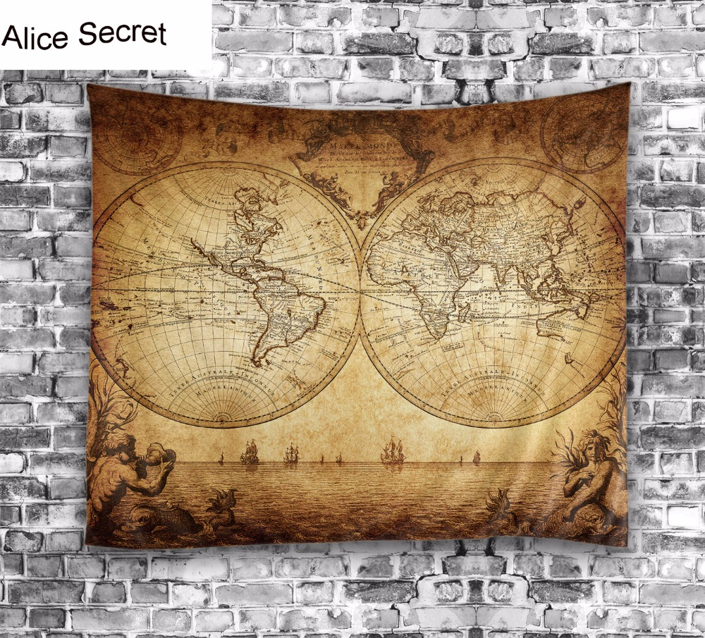 Big Beauty Map Wall Hanging Decor Tapestry Blanket Soft Bedspread ...